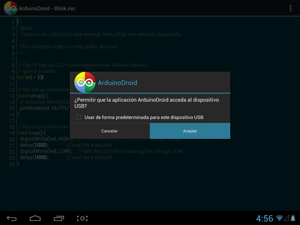 ArduinoDroid – Permitir acceso